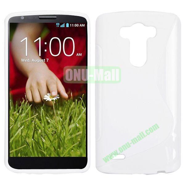 S Shape TPU Case for LG G3  D850  VS985  D830  D851 (White)