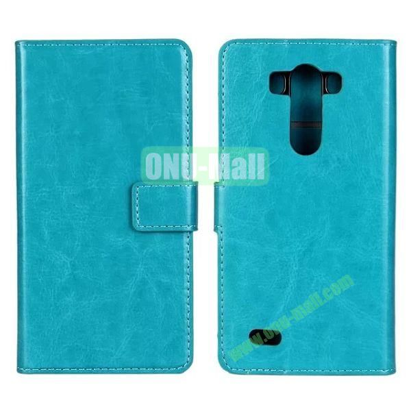 Crazy Horse Texture Magnetic Flip Stand Leather Case for LG G3 D850 LS990 with Card Slots (Cyan)