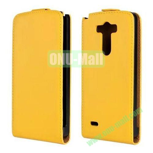 Hot Sale Vertical Flip Genuine Leather Case for LG G3 D850 LS990 (Yellow)