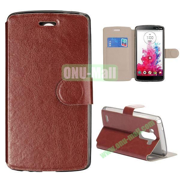 Crazy Horse Texture Foldable Magnetic Flip Stand TPU+PU Leather Case with Card Slots for LG G3 D850 LS990 (Brown)