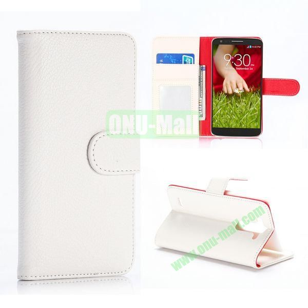 Litchi Texture Flip Stand Leather Case for LG G3 Mini D725 D722 (White)