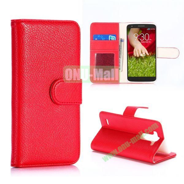 Litchi Texture Flip Stand Leather Case for LG G3 Mini D725 D722 (Red)