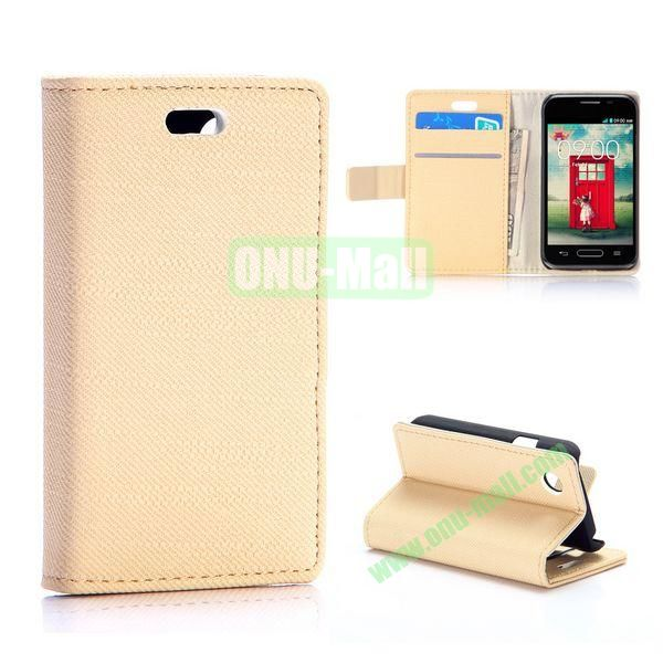 Cloth Texture Wallet Pattern PU Flip Leather Case for LG L40 D160 with Card Slots and Stand (Beige)
