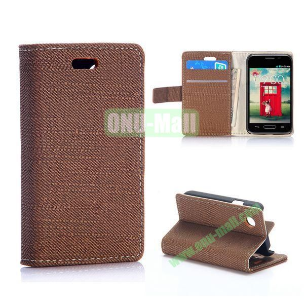Cloth Texture Wallet Pattern PU Flip Leather Case for LG L40 D160 with Card Slots and Stand (Coffee)