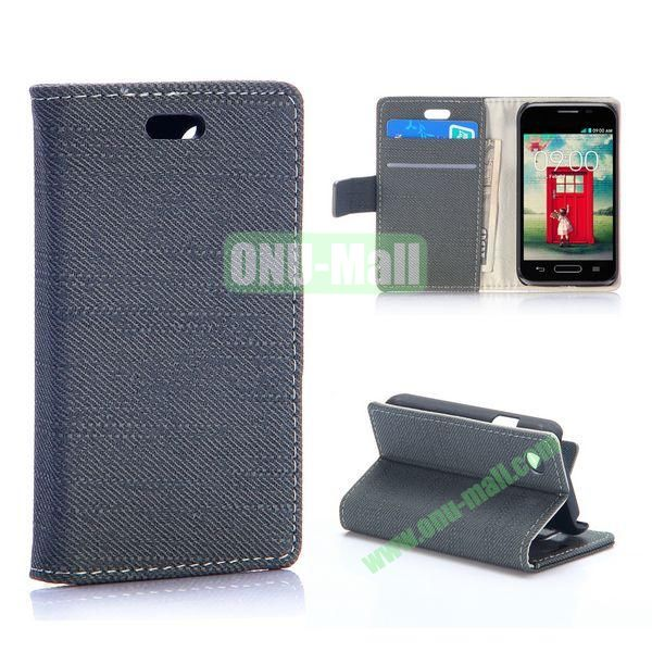 Cloth Texture Wallet Pattern PU Flip Leather Case for LG L40 D160 with Card Slots and Stand (Black)