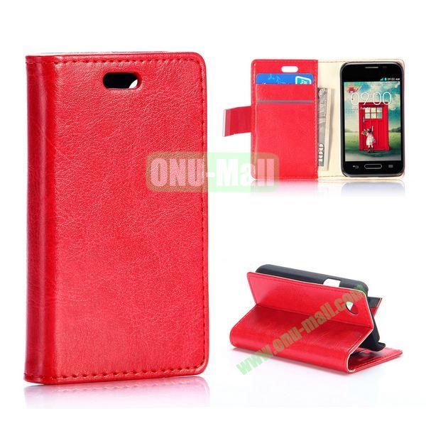 Crazy Horse Wallet Style Magnetic Flip Leather Case for LG L40 D160 with Stand and Card Slots (Red)