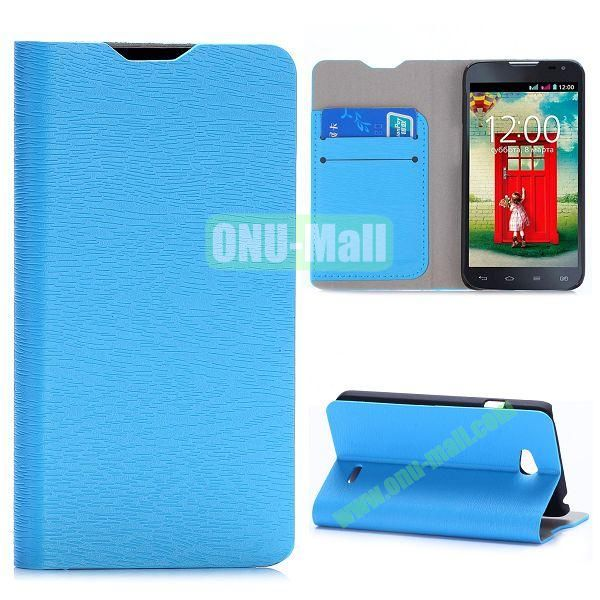 Wood Grain Flip Stand Leather Case For LG L65 D280 Dual SIM D285 With Card Slots (Blue)