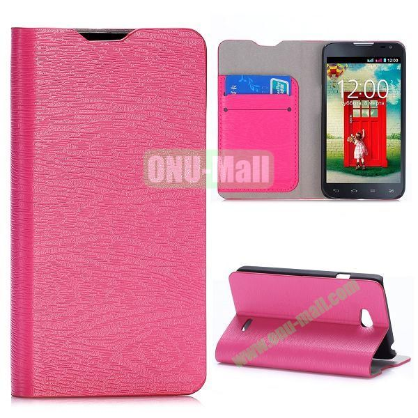 Wood Grain Flip Stand Leather Case For LG L65 D280 Dual SIM D285 With Card Slots (Rose)
