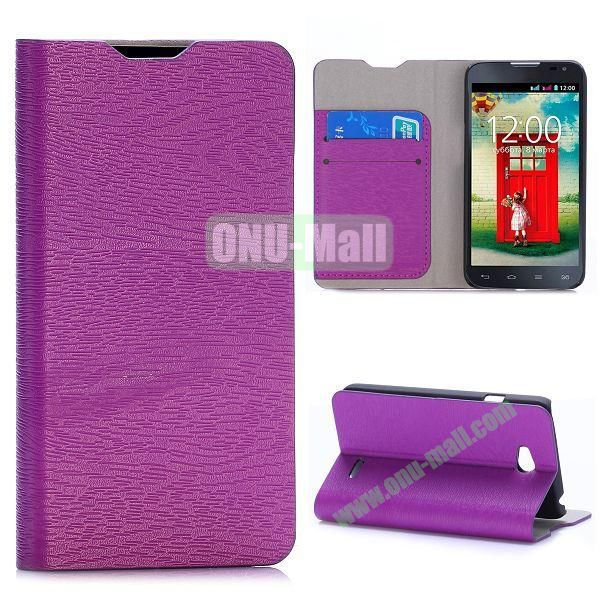 Wood Grain Flip Stand Leather Case For LG L65 D280 Dual SIM D285 With Card Slots (Purple)