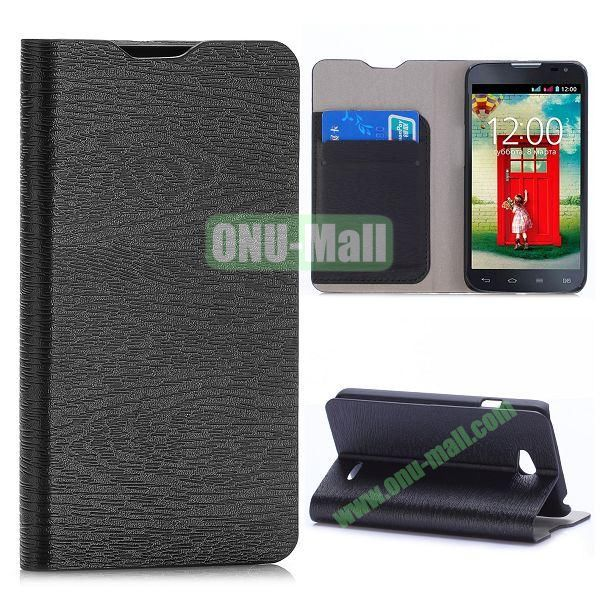 Wood Grain Flip Stand Leather Case For LG L65 D280 Dual SIM D285 With Card Slots (Black)