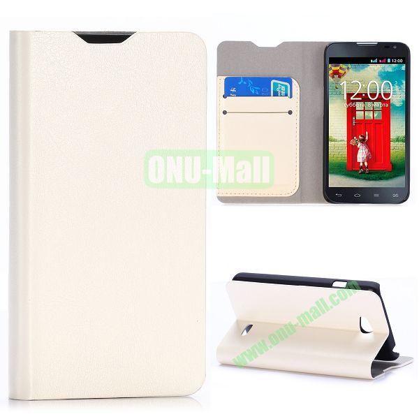 Crazy Horse Texture Flip Stand Leather Case For LG L65 D280 Dual SIM D285 (White)