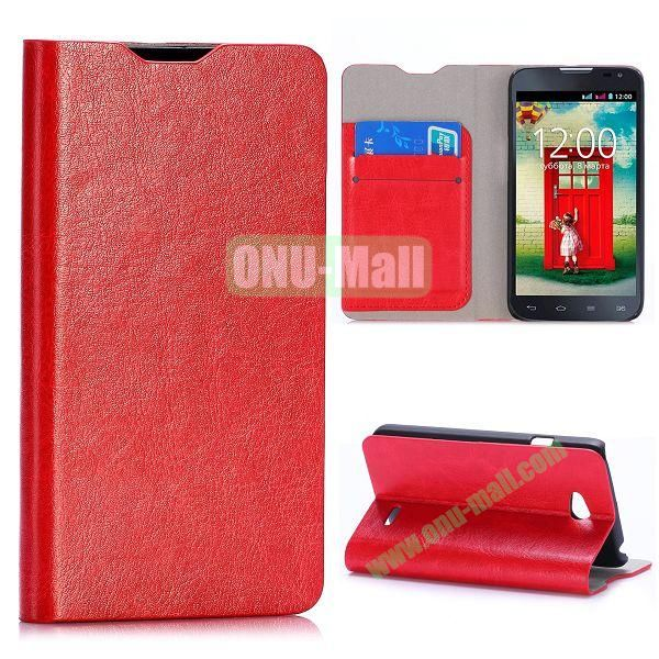 Crazy Horse Texture Flip Stand Leather Case For LG L65 D280 Dual SIM D285 (Red)