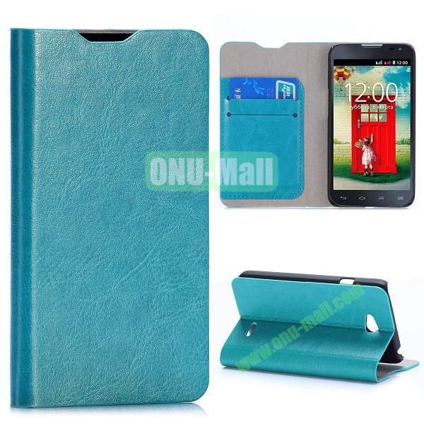 Crazy Horse Texture Flip Stand Leather Case For LG L65 D280 Dual SIM D285 (Baby Blue)