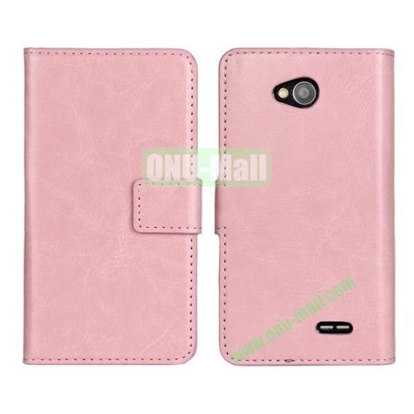 Crazy Horse Texture Wallet Style Flip Magnetic Leather Case for LG L70 (Pink)