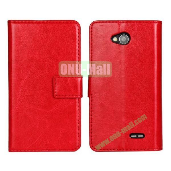 Crazy Horse Texture Wallet Style Flip Magnetic Leather Case for LG L70 (Red)