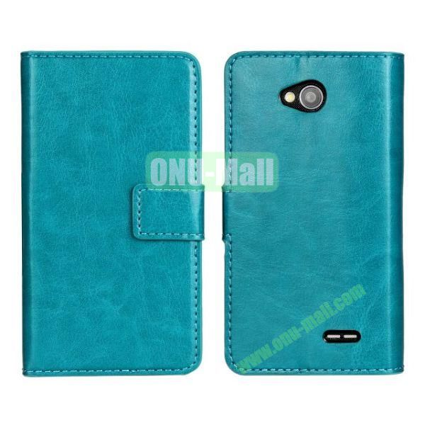 Crazy Horse Texture Wallet Style Flip Magnetic Leather Case for LG L70 (Blue)