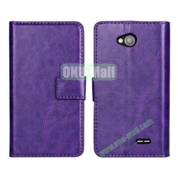Crazy Horse Texture Wallet Style Flip Magnetic Leather Case for LG L70 (Purple)