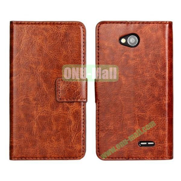 Crazy Horse Texture Wallet Style Flip Magnetic Leather Case for LG L70 (Brown)