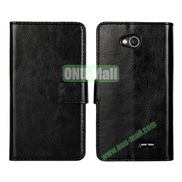 Crazy Horse Texture Wallet Style Flip Magnetic Leather Case for LG L70 (Black)