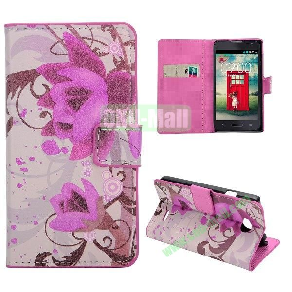 Stylish Pattern Wallet Style PC and PU Leather Case For LG L70 (Lotus)