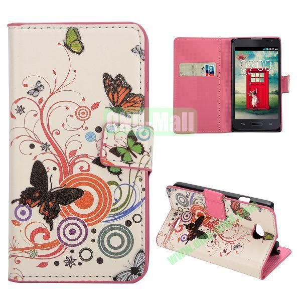Stylish Pattern Wallet Style PC and PU Leather Case For LG L70 (Music Butterfly)