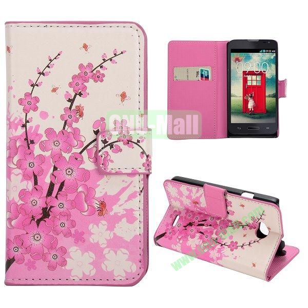 Stylish Pattern Wallet Style PC and PU Leather Case For LG L70 (Blossom Flower)