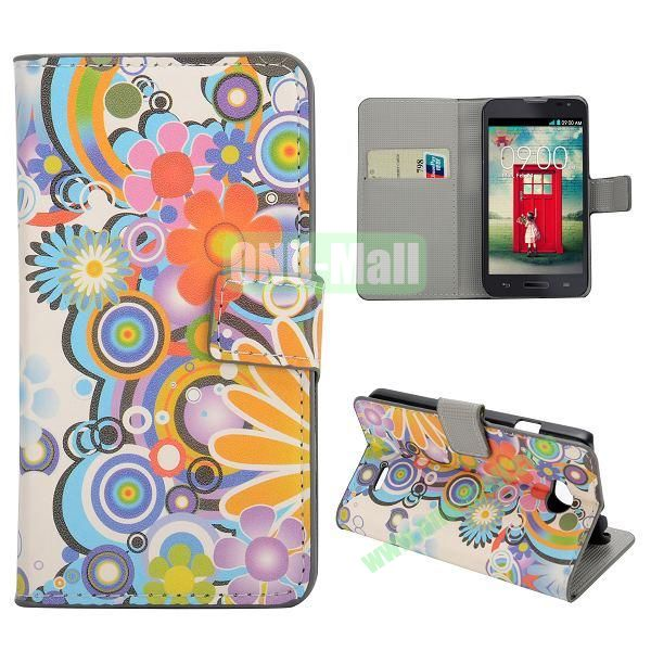 Stylish Pattern Wallet Style PC and PU Leather Case For LG L70 (Flowers)