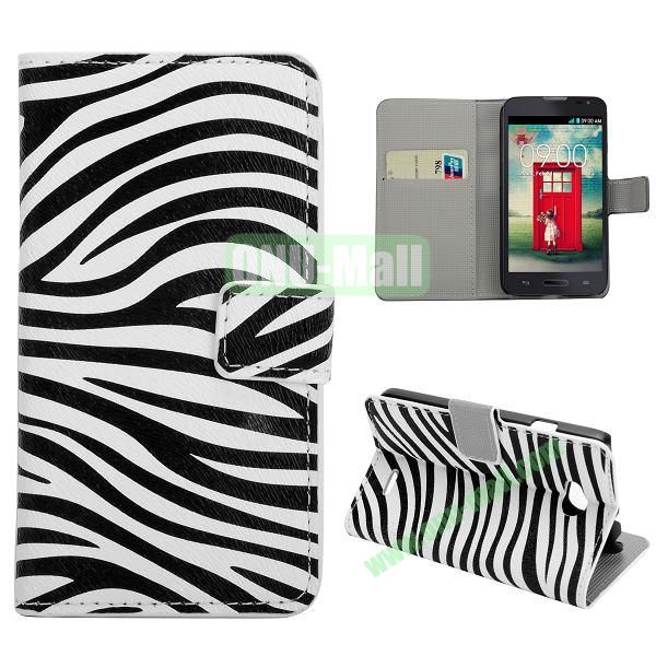 Stylish Pattern Wallet Style PC and PU Leather Case For LG L70 (Zebra Pattern)