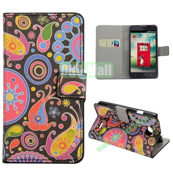 Stylish Pattern Wallet Style PC and PU Leather Case For LG L70 (Graffiti Sky)