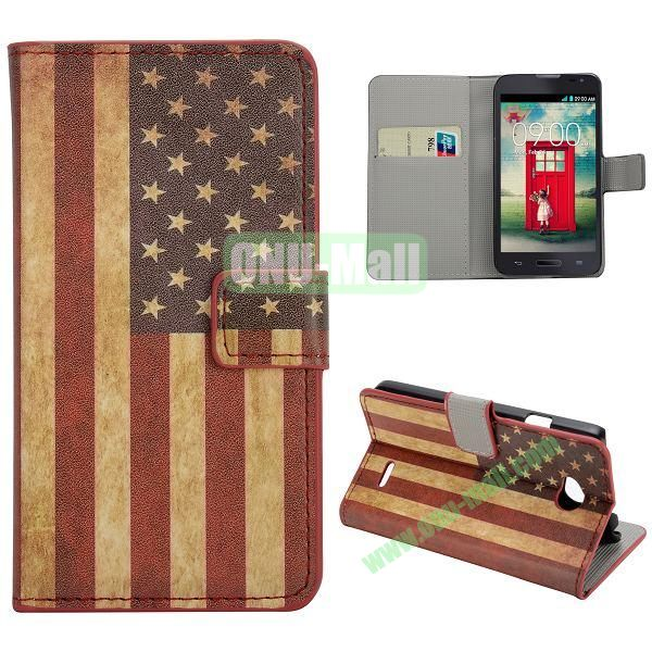 Stylish Pattern Wallet Style PC and PU Leather Case For LG L70 (US Flag)
