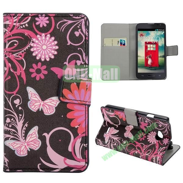 Stylish Pattern Wallet Style PC and PU Leather Case For LG L70 (Pink Butterfly)