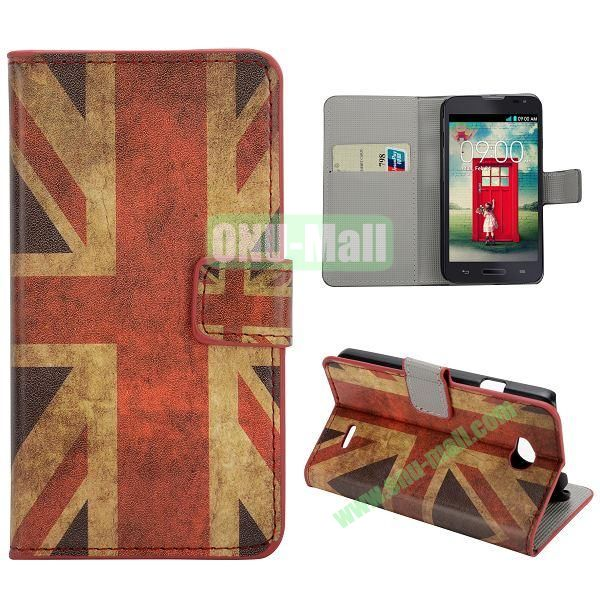 Stylish Pattern Wallet Style PC and PU Leather Case For LG L70 (UK Flag)