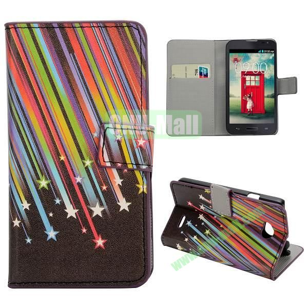 Stylish Pattern Wallet Style PC and PU Leather Case For LG L70 (Meteor)