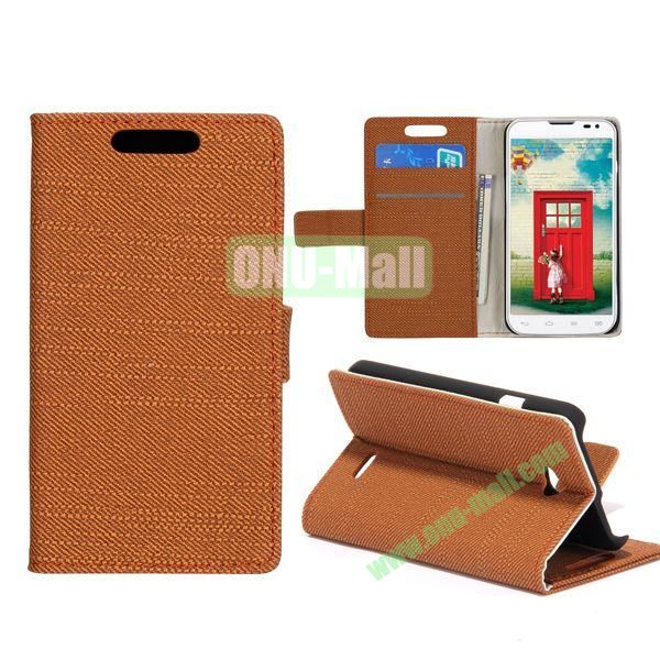 Simple Cloth Texture Flip Stand Leather Case for LG L70  D325  D320 (Coffee)