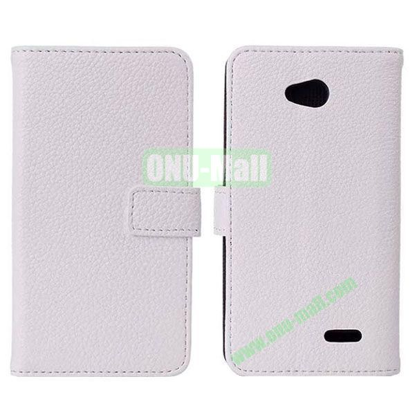 Litchi Texture Magnetic Flip Stand Leather Case with Card Slots for LG L70  D320  D325 (White)
