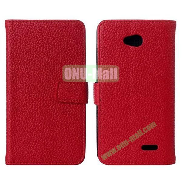 Litchi Texture Magnetic Flip Stand Leather Case with Card Slots for LG L70  D320  D325 (Red)