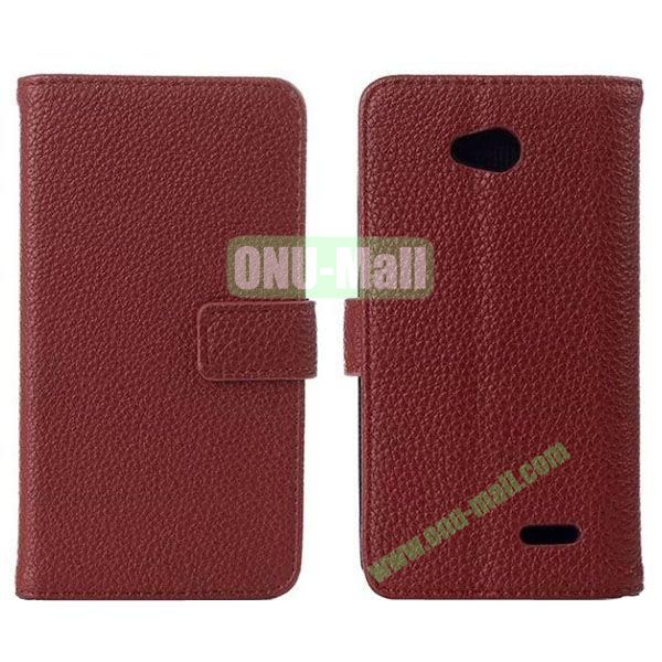 Litchi Texture Magnetic Flip Stand Leather Case with Card Slots for LG L70  D320  D325 (Brown)