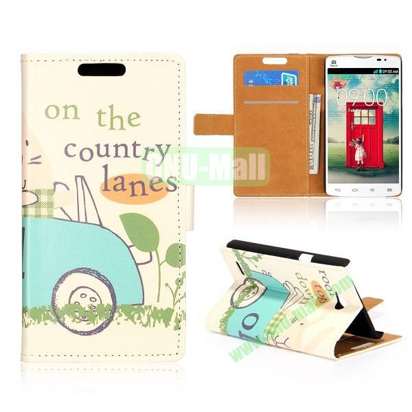 Wallet Style Unique Design Flip Leather Case for LG L80 D370 with Magnetic Closure (Cartoon Car)