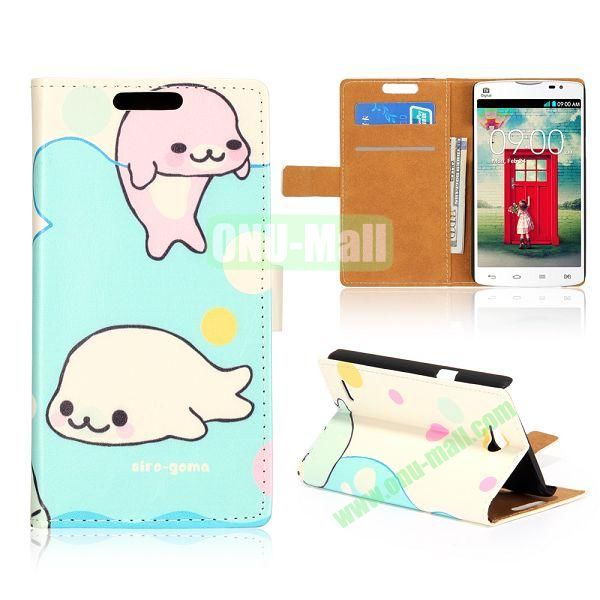 Wallet Style Unique Design Flip Leather Case for LG L80 D370 with Magnetic Closure (Cute Dolphins)