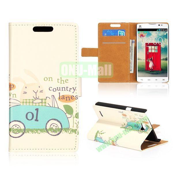 Wallet Style Unique Design Flip Leather Case for LG L80 D370 with Magnetic Closure (Blue Cartoon Car)