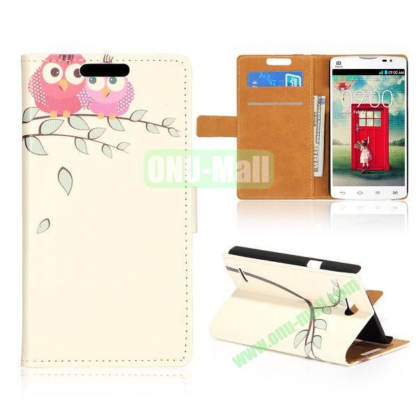 Wallet Style Unique Design Flip Leather Case for LG L80 D370 with Magnetic Closure (Two Pink Owls)