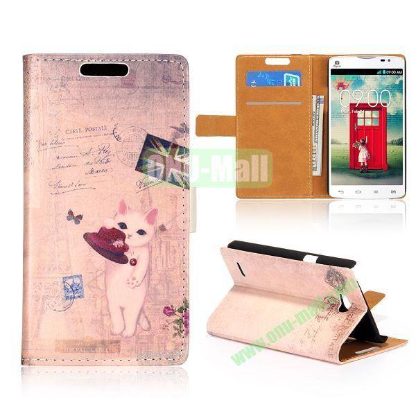 Wallet Style Unique Design Flip Leather Case for LG L80 D370 with Magnetic Closure (UK Cat)