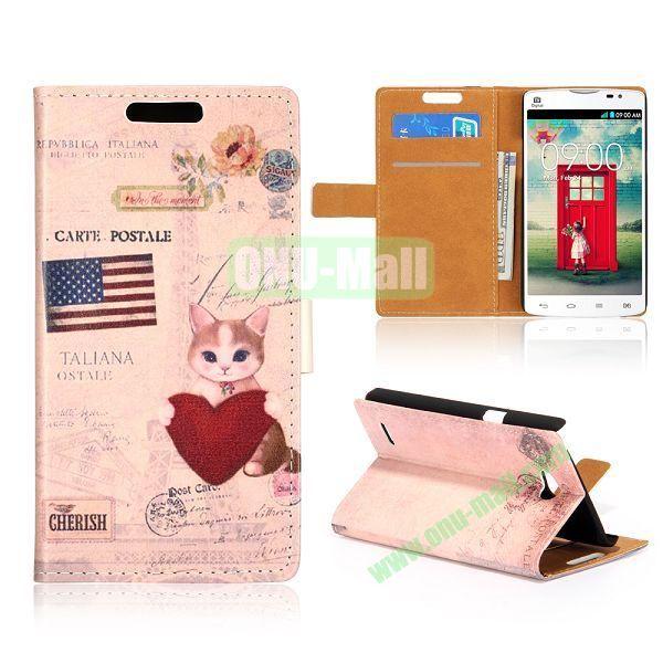 Wallet Style Unique Design Flip Leather Case for LG L80 D370 with Magnetic Closure (USA Cat)