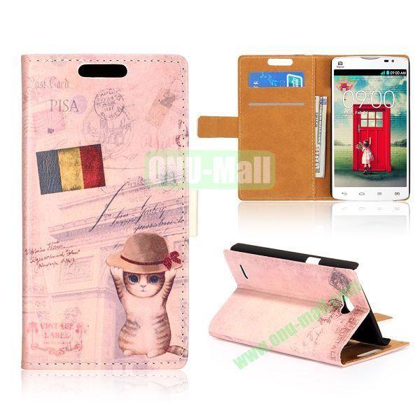 Wallet Style Unique Design Flip Leather Case for LG L80 D370 with Magnetic Closure (Rumania Cat)