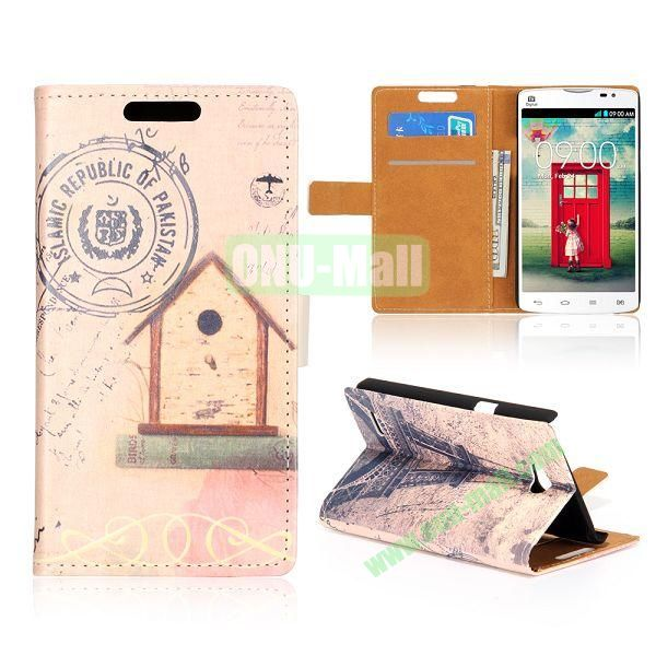 Wallet Style Unique Design Flip Leather Case for LG L80 D370 with Magnetic Closure (Eiffel Tower)