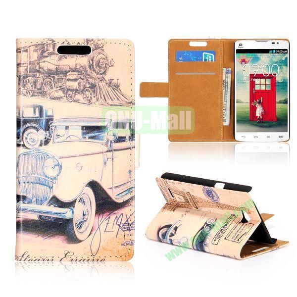 Wallet Style Unique Design Flip Leather Case for LG L80 D370 with Magnetic Closure (Retro Car)