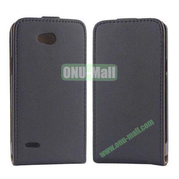 Vertical Flip Magnetic Leather Case for LG L80 (Black)