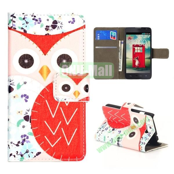 Owl Pattern Wallet PU Leather Case for LG L90 (White and Red)