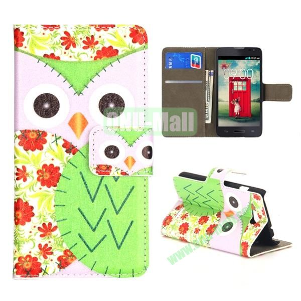 Owl Pattern Wallet PU Leather Case for LG L90 (White and Green)