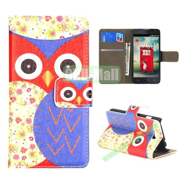 Owl Pattern Wallet PU Leather Case for LG L90 (Red and Blue)